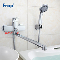 Frap Brass Bathtub 35cm Outlet Pipe Bathroom Shower Faucet With ABS Shower Head Wall Mounted Faucet Torneira para banheiro F2273
