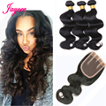 Sale Brazilian Virgin Hair With Closure Unprocessed Human Hair Weave 3 Pcs Weft With Lace Closure Miss Lula Brazilian Body Wave