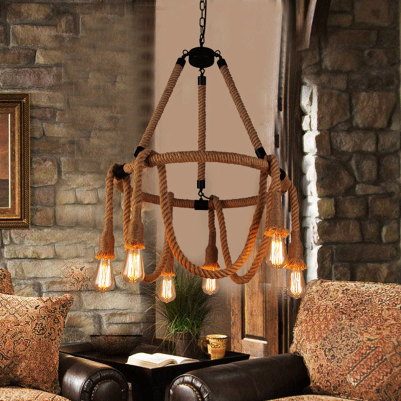 The Vintage American country restaurant cafe bar rope chandelier study creative clothing store pendant lamp