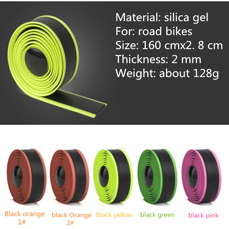 Gustavo Two-tone Silicone bike Handlebar Tape Road Fixed Gear soft Bicycle handle bar tape fouriers bicycle drop handlebar tape wraps pu fixed gear road bike handle bar tapes belt with holes pair with ends