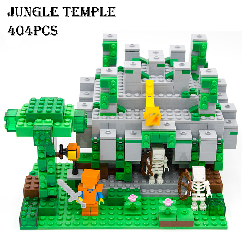 Model building kits compatible with lego 18026 21132 my worlds MineCraft The jungle temple Educational font