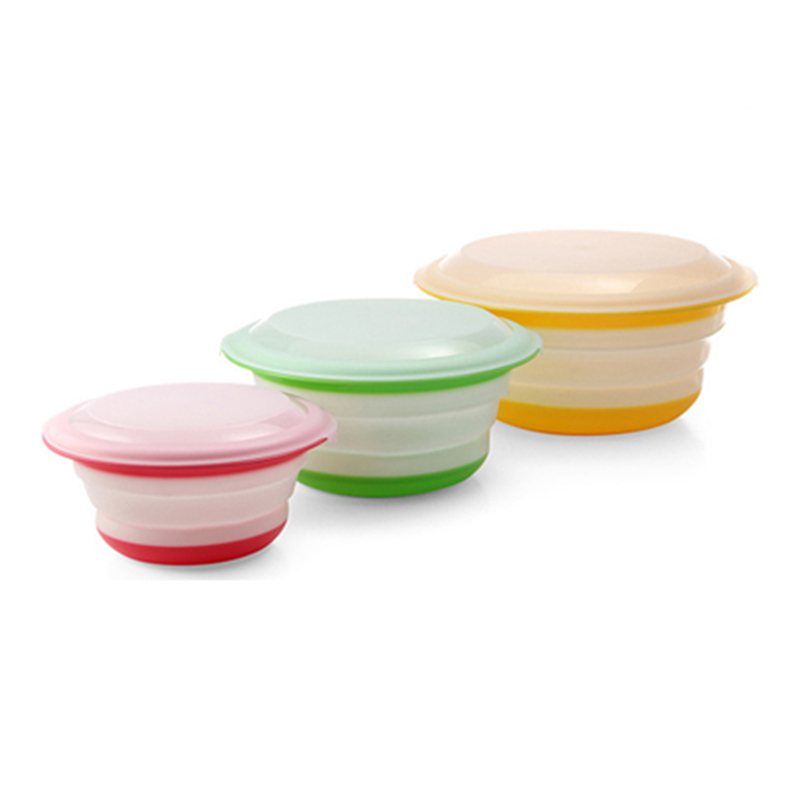 3pcs/set Folding Dining Bowl With Lid Dinnerware Sets Tablew