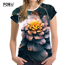 FORUDESIGNS T-shirt Women Summer 2018 t-shirt Vogue Retro Clothhing Floral Printing Femme Top Tee Harajuku Wonder Feminist