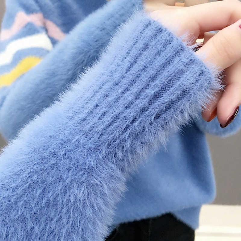 새로운 터틀넥 스웨터 여성 패션 2019 가을 겨울 탑 여성 니트 풀오버 mohair 긴 소매 점퍼 당겨 femme l67