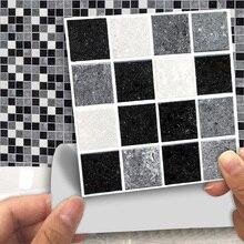 18 шт. черная мраморная мозаика, клей для ванной, кухонная стена для лестницы и пола, плитка, наклейки, товары для домашнего сада