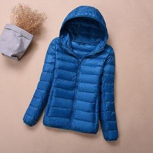 Image 2 - Hooded Down Jackets Winter Women Warm Coat Parka Female Ultralight Thin Down Jacket Duck Long Sleeve Portable Outwear 2020 6XL