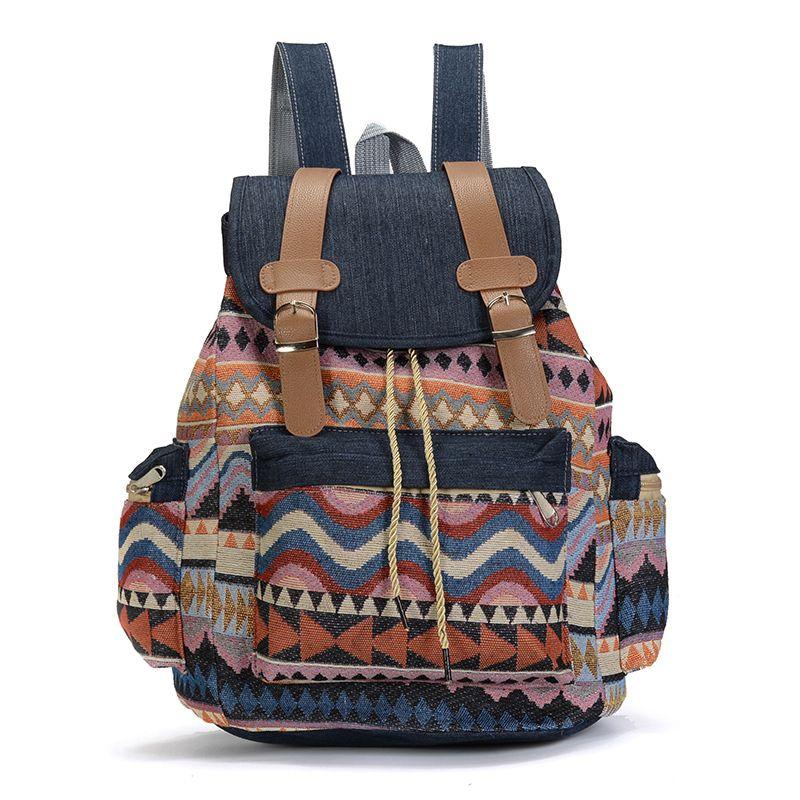 Women Canvas Vintinge Backpack Ethnic Backpack Bohemian Backpack Schoolbag