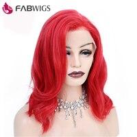 Fabwigs 250% Плотность Красный парик Боб Синтетические волосы на кружеве парики предварительно сорвал бразильский огонь Красный Короткие парик