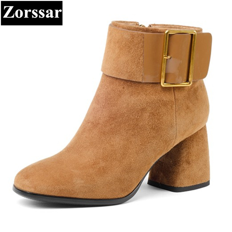 {Zorssar}2018 NEW fashion buckle Women Boots Kid Suede pointed Toe High heels ankle Riding boots autumn winter female shoes front lace up casual ankle boots autumn vintage brown new booties flat genuine leather suede shoes round toe fall female fashion