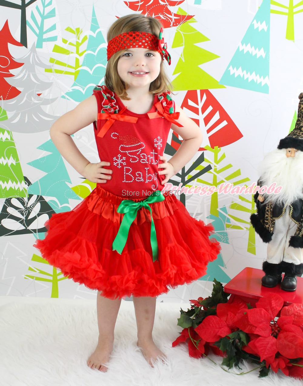 XMAS Rhinestone Santa Baby Red Top Red Pettiskirt Baby Girl Outfit Set 1-8Year MAPSA0073 цена и фото