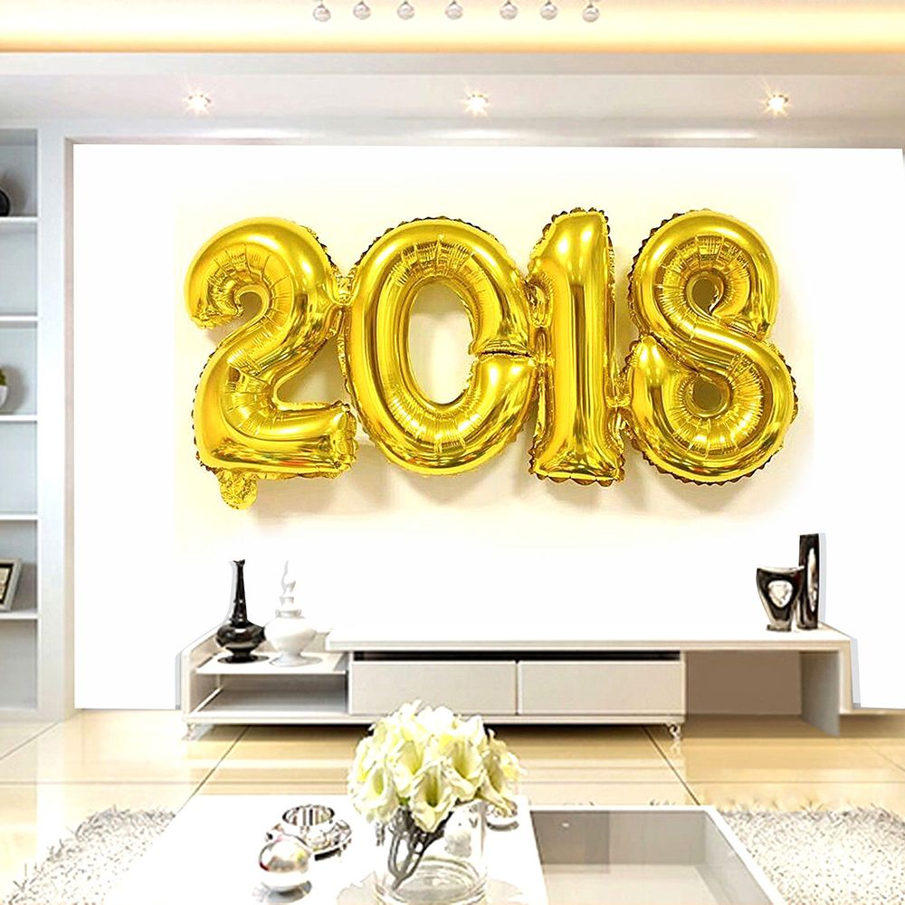 Online Shop 2018 Number Foil Balloon Gold Silver Color Digit Air ...