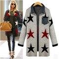 Осень зима женщины звезда кардиган свободные трикотажные свитера пальто верхняя одежда карман женские блузки топы gebreide дамы трикотаж 2015