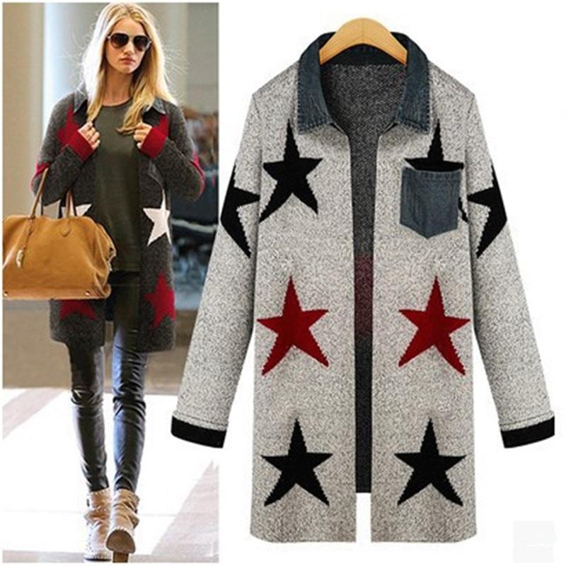 autumn winter womans star cardigan loose knit sweater coat outerwear pocket womens blouses tops gebreide ladies knitwear 2015