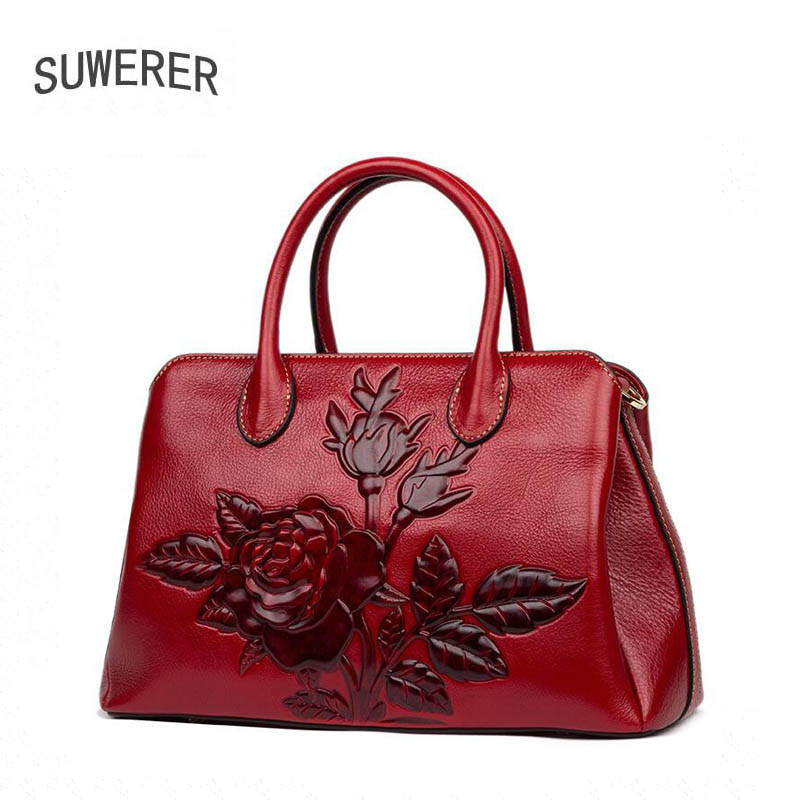 2018 Time-limited Polyester Silt Pocket Suwerer New Superior Cowhide Genuine Leather Tote Women Handbags Rose Flower Luxury Bag