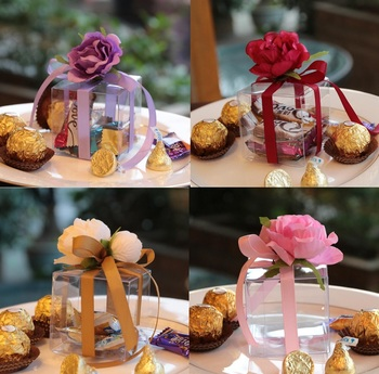 50pcs Transparent Candy Box Chocolates Boxes  Flower Ribbon For Wedding Party Baby Shower Favor Gift