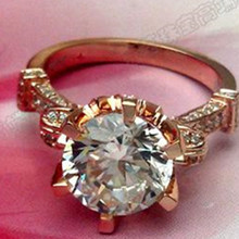 Amazing Big Gold Ring Jewelry 585 Rose Gold 4CT Synthetic Diamonds Ring Engagement Solid Rose Gold Jewelry Luxury Rose Gold 585
