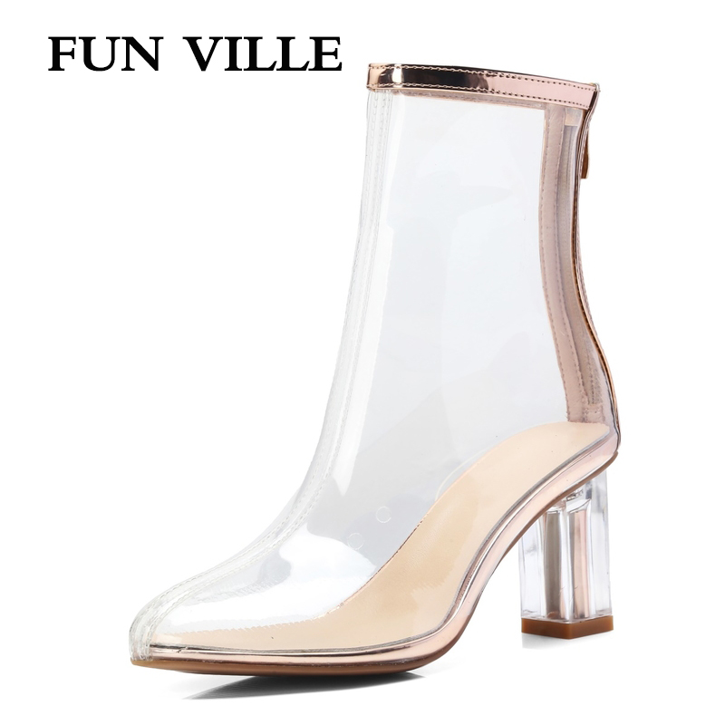 FUN VILLE New Fashion 7 color Spring Autumn Women Ankle Boots High Quality High Heels Boots