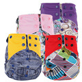 Reusable AI2 Cloth Diapers Nappy Cover Pockets Double Gusset Baby Girls Boys Cartoon Print Cloth Diapers Nappy Couche Lavable