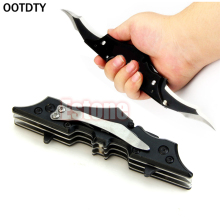 OOTDTY Black Outdoor Batman Two Dual Bladed Folding Knife Tool The Dark Knight