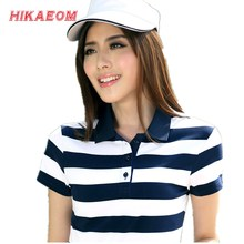 2017 Spring New Summer Striped Cotton Short Sleeved Polos Womens Polo Tops Plus Size Slim Female