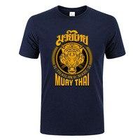 Muay Thai Tiger T Shirt Men Round Neck Men MMA Thailand Ultimate Fighting Martial Art Short