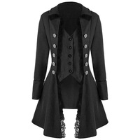 Women Black Classic Gothic Long Jacket Winter Autumn Punk Long Coat Vintage Outerwear Windbreaker Steampumk Jacket F