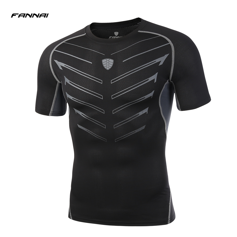 FANNAI 2018 New Men Compression Running T Shirt Men Short Sleeve Breathable Running Sports Tights Gym Fitness Bodybuilding Tees 2016 boys running pants soccer trainning basketball sports fitness kids thermal bodybuilding gym compression tights shirt suits page 1