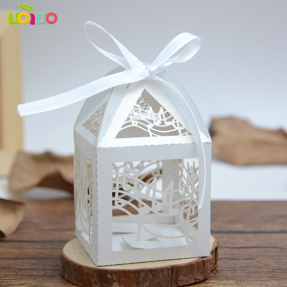 50pcs music Wedding Decoration white Laser Cut Candy Box With Ribbon ...