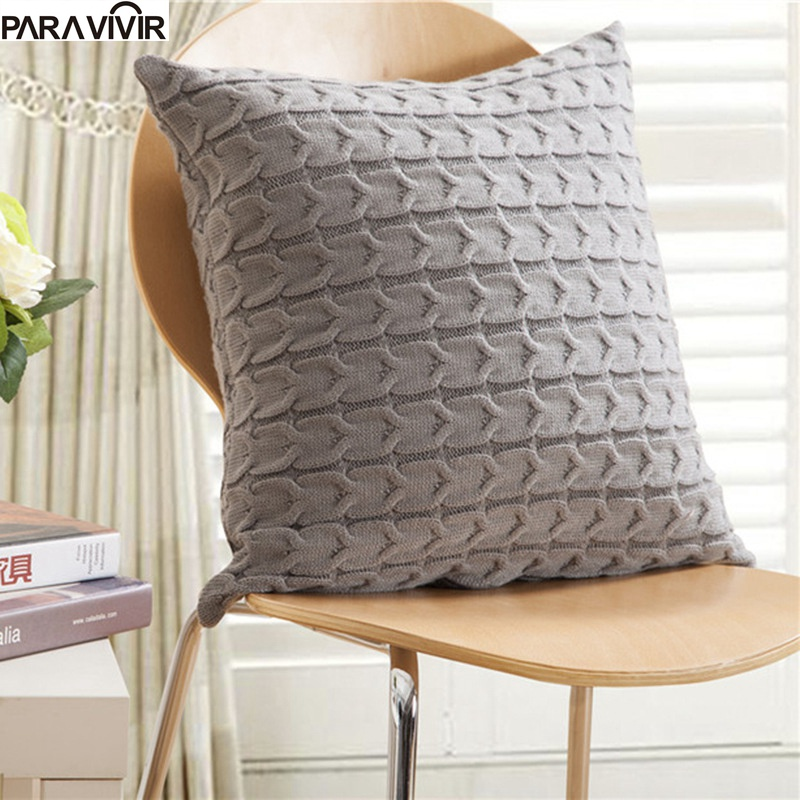 Cushion Cover Retro Style Knitted Wool Pillow Case Solid Sofa Waits