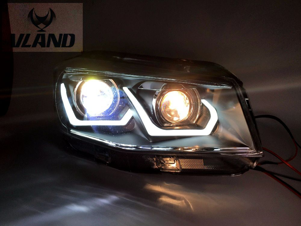Free shipping vland Factory headlamp for CS75 headlight 2014-2016 car accessories double U led bar and plug and play design free shipping vland factory car parts for camry led taillight 2006 2007 2008 2011 plug and play car led taill lights