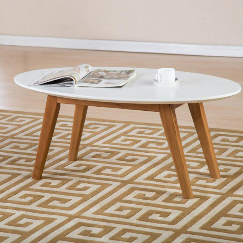 Nordic contracted tea table elliptic white solid wood recreational coffee table