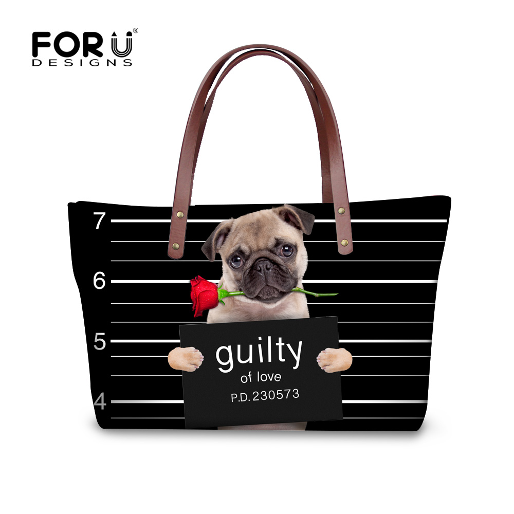 FORUDESIGNS Vintage Black Pet Dog Printed Women Large Handbags Fashion Ladies Top-Handle Bag Girls Shoulder Female Big Tote Bag fashion girls pet hand bag brooch set