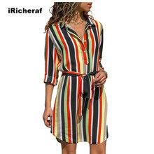 iRicheraf Long Sleeve Shirt Dress 2019 Summer Chiffon Boho Beach Dresses Women Casual Striped Print Mini Party Vestidos