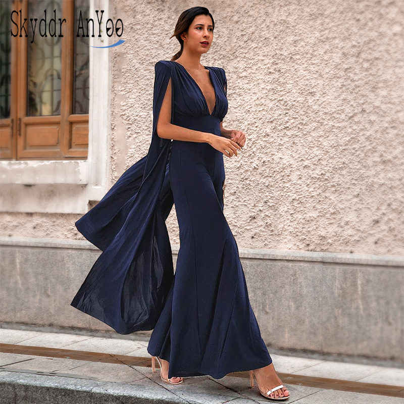 New Fashion Summer Women Solid Sexy Jumpsuit Deep V-Neck Backless Rompers Femme Elegant Bodysuit Party Night Maxi Sexy Jumpsuits