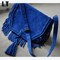 2017 Royal Blue Faux Suede Fringed  Messenger Bag Electric Blue Tassel Tribal Boho Hippie Gypsy Vintage Bohemian Crossbody Bag