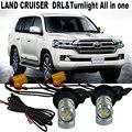 2X Car LED luz Para T.O.Y.O.T.A LAND CRUISER 200 2007-2015 LED DRL Daytime Running Lights & Frente Sinais de Volta Tudo Em um