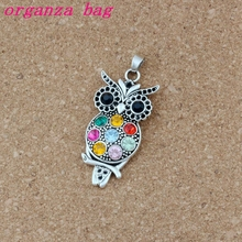 Colorful Crystal Owl Alloy Antique silver charm Pendants Jewelry DIY Fit Pendant Necklace 23.8x54.5mm 20Pcs/lot A-485