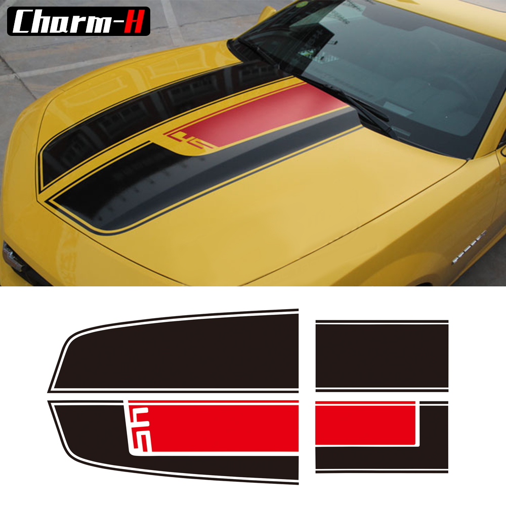Car Styling Hood Rear Engine Trunk Cover Bonnet Vinyl Decal for Chevrolet Camaro Racing Stripes Stickers Accessories car styling hood trunk rear bonnet side stripes decal stickers jcw work graphic all4 for mini cooper countryman f60 2017 present