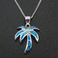 High Quality 100% 925 Sterling Silver Jewelry Fine Jewelry  Blue Fire Opal Pendants Necklace For Women