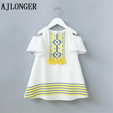 AJLONGER New Cotton Girl Dress Summer Sweet Baby Dress Children Princess Dresses Fashion Clothes For Girls 2017 popular in europe and america summer new girls dress cotton breathable princess dress sweet white children dress
