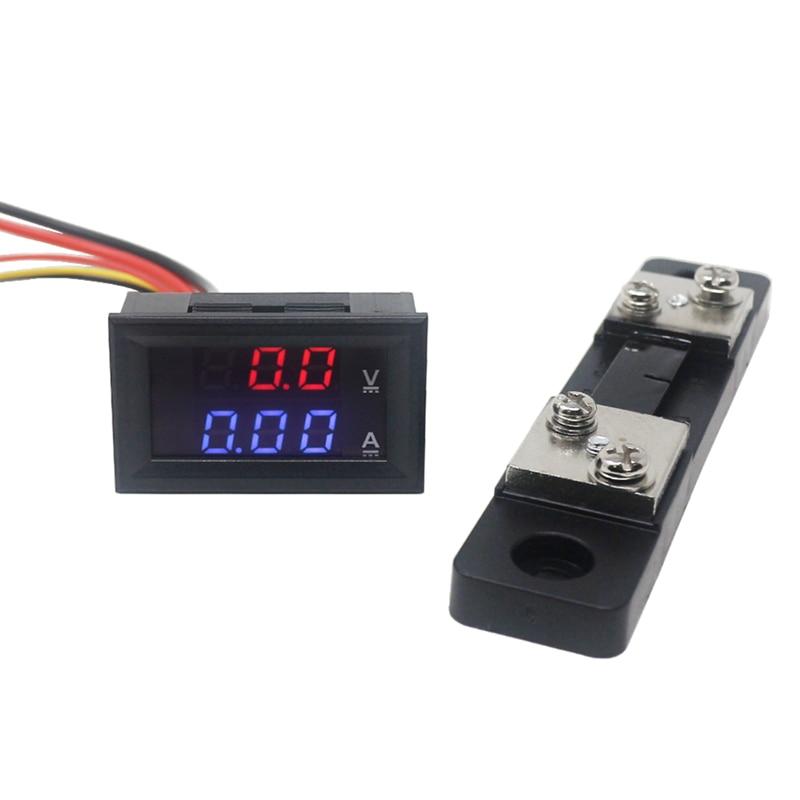 "0.28 ""DC 0-100V / 50A Rojo Azul Voltímetro Digital Amperímetro 2 en 1 DC Volt Amp Meter con 50A / 75mV Amperios Shunt"