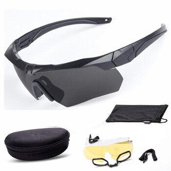 Militar gafas a prueba de balas táctica al aire libre gafas de tiro Cs en montañismo polarizado tres conjuntos de lentes