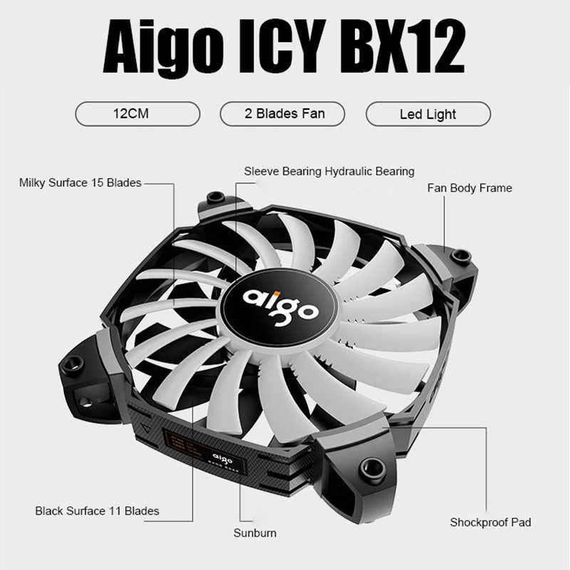 Aigo Computer Pc Case Fan 12V Enkele Kleur Licht Fan Cooler 2 Blades Turbocharged Koelventilator 120 Mm Pmw controller Icy BX12