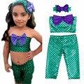 3 Unids Ropa Set Baby Girl Niños de Cola de Sirena Nadar Swim Bikini Set Traje de Baño Traje de Lujo