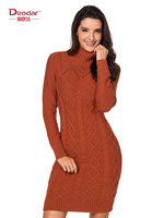 Deodar Women Autumn Winter Sweater Knitted Dresses Slim Turtleneck Long Sleeve Sexy Lady Bodycon Robe Dresses Vestido Solid