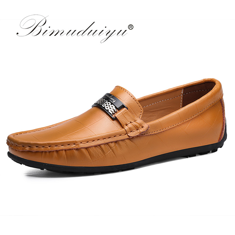 BIMUDUIYU Big Size Luxury Shoes Slip On Black Shoes Real Leather Loafers Mens Moccasins Shoes New Handmade Casual Shoes For Men