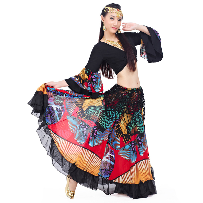 Image 2 - 2018 Newest Top grade gypsy belly dance skirt for women big flowers 2 3 m big skirt 720 degrees-in Belly Dancing from Novelty & Special Use