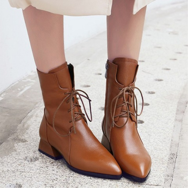 SWYIVY Woman Boot 2019 New Autumn Mid Calf Boots Women Pointed Toe Shoe Martin Boots Block Heel Shoes Women Black/brown Booties