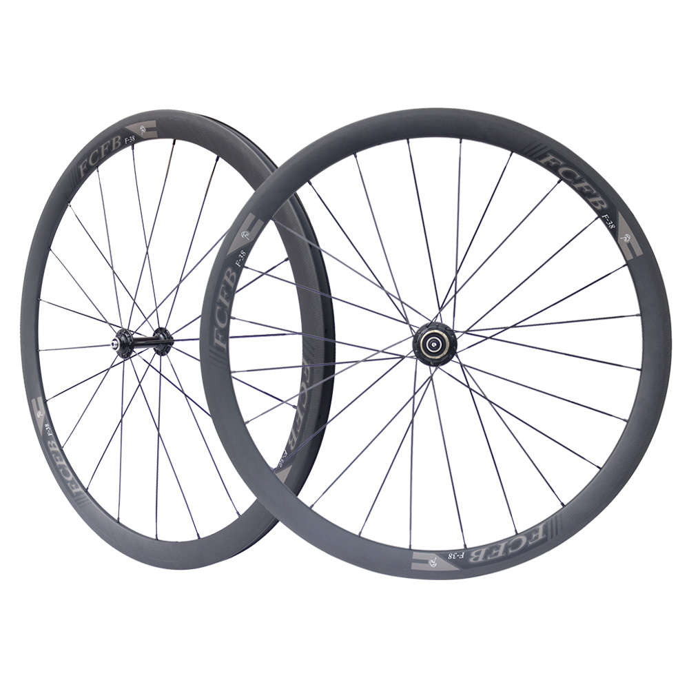 new FCFB 100% Toray 700 carbon fiber road bicycle wheels 38 23 racing carbon wheels with superlight Fastace hub cycling parts