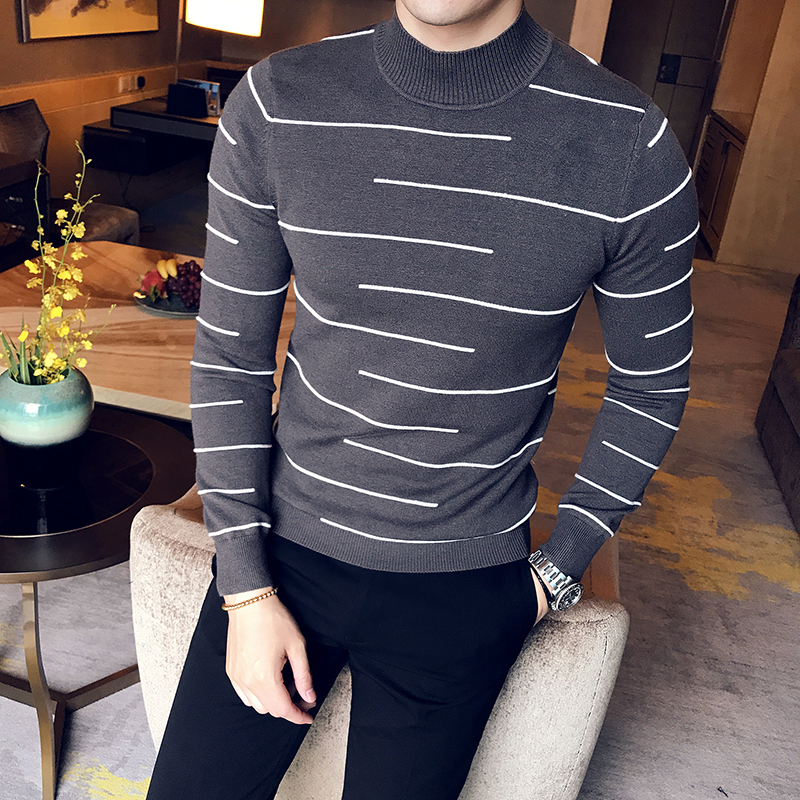 Casual Wool Half High Neck Across Stripe Knitting Men Sweater 2018 Autumn Leisure Adult Long Sleeve Slim Fit Male Pullover